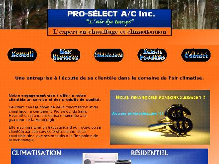 Pro-Select A/C Inc (450-888-0279) - Website thumbnail - http://www.pro-select.ca