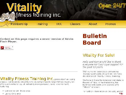 Vitality Fitness Training (613-258-4001) - Onglet de site Web - http://www.vitalityfitnesstraining.com