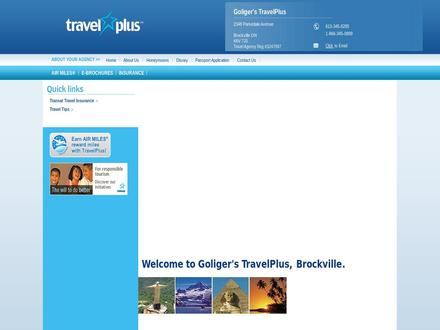 Goliger's Travel Plus (613-345-6285) - Onglet de site Web - http://www.brockville.travelplus.ca