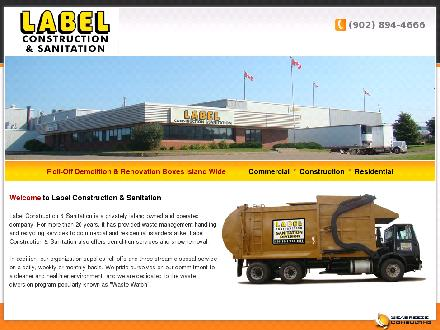 Label Construction &amp; Sanitation Division (902-894-4666) - Onglet de site Web - http://www.labelconstruction.ca
