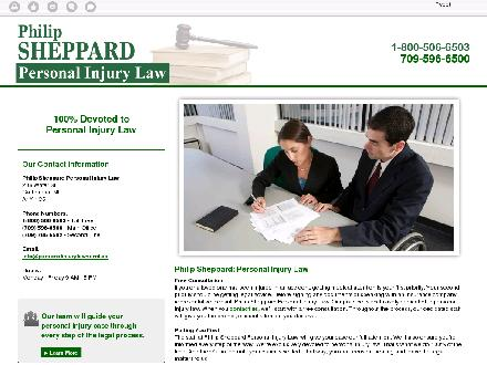 Sheppard Philip Law Office (709-596-6500) - Onglet de site Web - http://personalinjurylawyernl.ca/