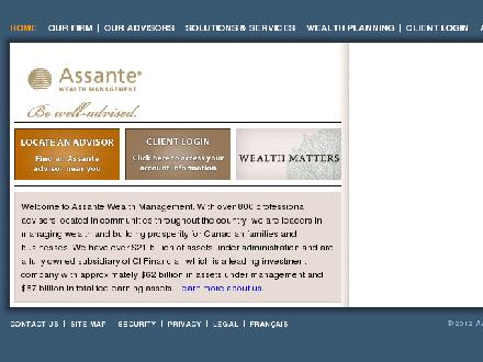 Assante Financial Management Ltd (902-832-6677) - Onglet de site Web - http://www.assante.com