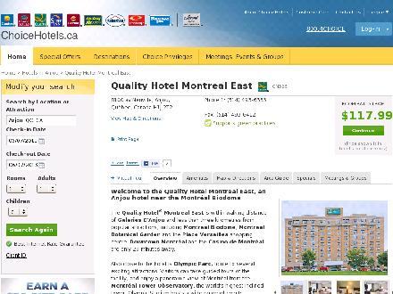 Quality Hotel Montreal East (514-493-6363) - Onglet de site Web - http://www.choicehotels.ca/cn326