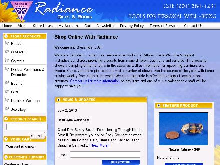 Radiance Gifts & Treasures (204-284-4231) - Onglet de site Web - http://www.radiancegifts.com