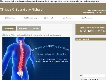 Clinique Chiropratique Richard (418-622-1234) - Onglet de site Web - http://cliniquechiropratiquerichard.ca