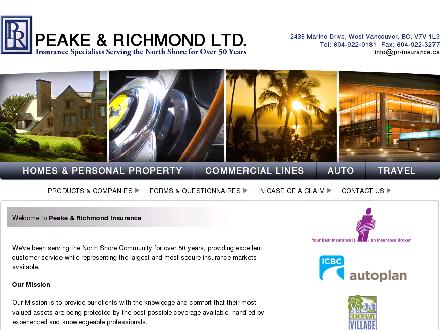 Peake &amp; Richmond Ltd (604-969-0058) - Onglet de site Web - http://www.pr-insurance.ca