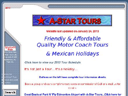 A-Star Tours Ltd (780-465-9114) - Website thumbnail - http://www.a-startours.com