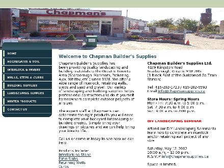 Chapman Builders Supplies Ltd (416-282-1723) - Onglet de site Web - http://www.chapmansupplies.ca/