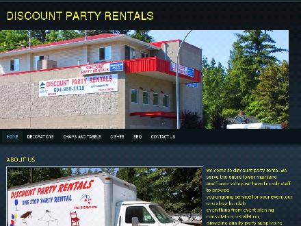 Discount Party Rentals (604-557-7577) - Onglet de site Web - http://www.discountpartyrental.ca