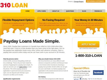 310-LOAN Payday Loans (1-800-310-5626) - Website thumbnail - http://www.310loan.com/?ref=yellowpages.ca