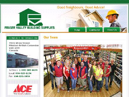 Fraser Valley Building Supplies Inc (604-820-1134) - Onglet de site Web - http://www.buildingsupplies.ca