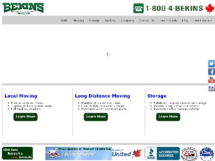 Bekins Moving & Storage (604-270-1120) - Website thumbnail - http://www.bekins.ca