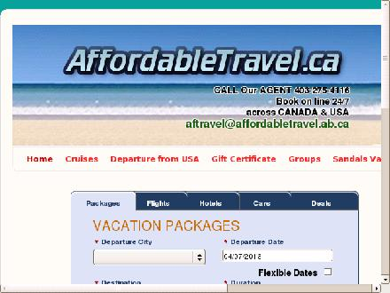Affordable Travel (403-275-4116) - Onglet de site Web - http://www.affordabletravel.ca