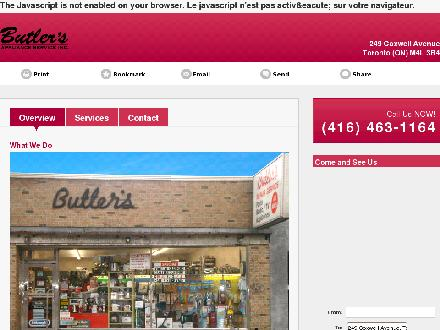 Butler's Appliance Service (416-463-1164) - Website thumbnail - http://butlersapplianceservice.com/
