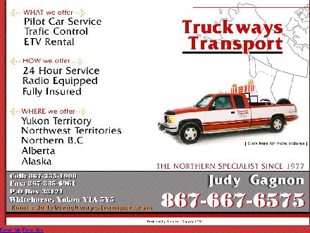 Truckways Transport Ltd (867-667-6575) - Onglet de site Web - http://truckwaystransport.ca/