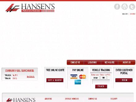 Hansen's L Forwarding (1-888-420-8888) - Onglet de site Web - http://www.lhf.com