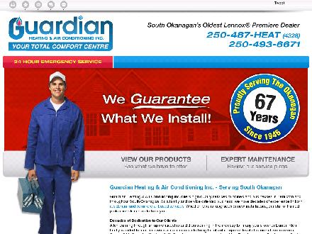 Guardian Heating & Air Conditioning Inc (250-487-9010) - Onglet de site Web - http://guardianheating.ca/