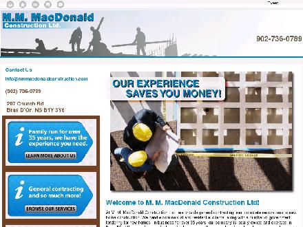MacDonald M M Construction Ltd (902-736-0789) - Onglet de site Web - http://mmmacdonaldconstruction.com/