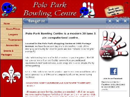 Polo Park Bowling Centre (204-783-5018) - Onglet de site Web - http://www.poloparkbowlingcentre.ca