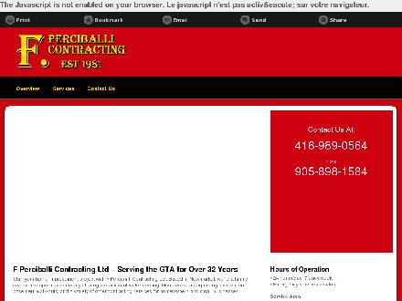 F Perciballi Contracting Ltd (416-989-0564) - Onglet de site Web - http://fpcontracting.ca/
