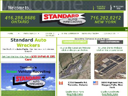 Standard Auto Wreckers (416-286-8686) - Website thumbnail - http://www.standardautowreckers.com