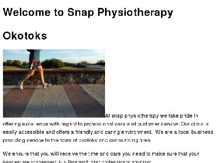 Snap Physiotherapy (403-995-5559) - Website thumbnail - http://snapphysio.ca