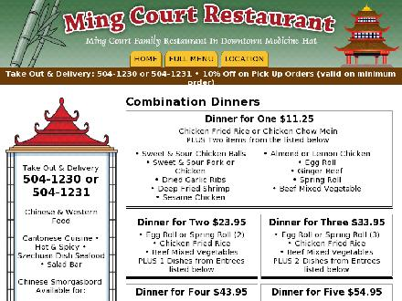 Ming Court Family Restaurant (403-580-1435) - Onglet de site Web - http://www.mingcourtrestaurant.ca
