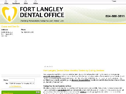 Fort Langley Dental Office (604-888-3811) - Onglet de site Web - http://fortlangleydentaloffice.ca
