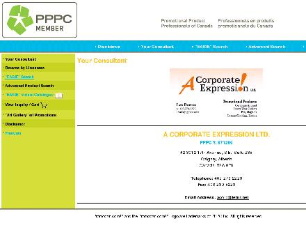 A Corporate Expression (403-230-8223) - Onglet de site Web - http://acorp.promocan.com