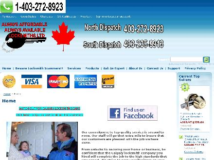 Always Affordable Always Available Locksmiths Ltd (403-213-9116) - Onglet de site Web - http://www.affordablelocksmiths.com