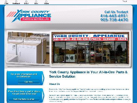 York County Appliance Parts & Service Ltd (905-738-4470) - Onglet de site Web - http://yorkcountyappliance.ca/