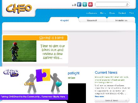 Children's Hospital Of Eastern Ontario (CHEO) (613-737-7600) - Onglet de site Web - http://www.cheo.on.ca/