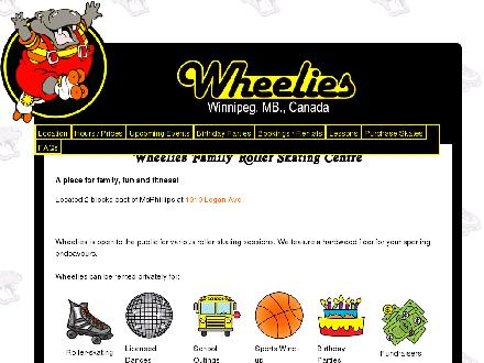Wheelies Family Roller Centres Inc (204-988-5060) - Website thumbnail - http://www.wheeliesrollerrink.com