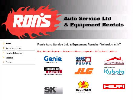 Ron's Equipment Rental &amp; Industrial Supply Ltd (867-766-6025) - Onglet de site Web - http://www.ronsauto.ca