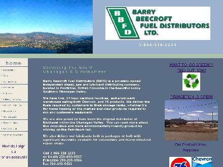 Barry Beecroft Fuel Distributors Ltd (250-490-0567) - Website thumbnail - http://www.bbfd.ca