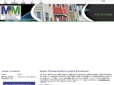 M & M Construction Div Of Fenetcetera Inc (613-761-0280) - Website thumbnail - http://mmconstructioninc.ca/