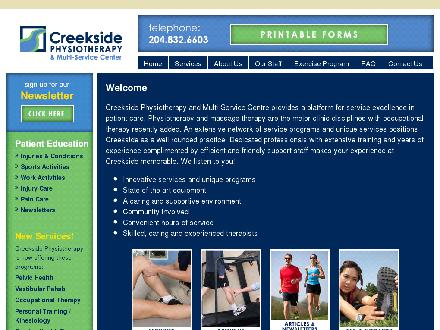 Creekside Physiotherapy &amp; Multi-Service Centre (204-832-6603) - Website thumbnail - http://www.creeksidephysio.com