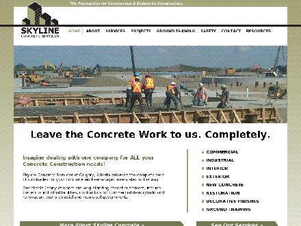 Skyline Concrete Services (403-692-3202) - Website thumbnail - http://www.skylineconcrete.ca