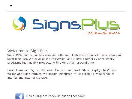 Signs Plus (506-652-9965) - Website thumbnail - http://www.signsplusnb.com