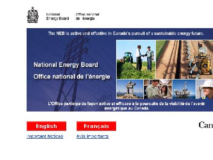 Office nationale de l'energie (1-800-632-1663) - Onglet de site Web - http://www.one-neb.gc.ca