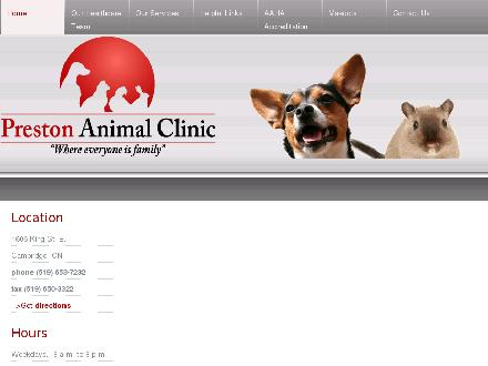 Preston Animal Clinic (519-653-7232) - Onglet de site Web - http://www.prestonanimalclinic.com