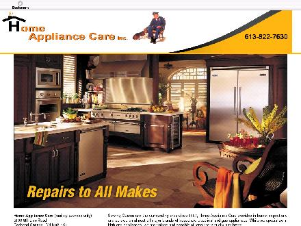 Home Appliance Care Inc (613-822-7630) - Onglet de site Web - http://www.homeappliancecare.ca
