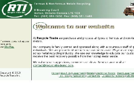 Recycle Trade (905-951-0000) - Onglet de site Web - http://www.recycletradeinc.com