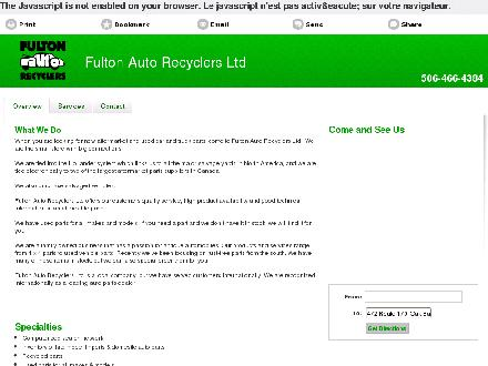 Fulton Auto Recyclers Ltd (506-466-4384) - Website thumbnail - http://fultonautorecyclers.com/