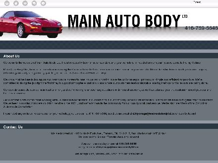 Main Auto Body Ltd (416-759-5646) - Onglet de site Web - http://mainautobodyltd.ca/