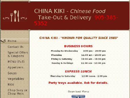 China Kiki (905-385-5352) - Website thumbnail - http://www.chinakiki.com