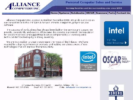 Alliance Computers Inc (905-522-8288) - Onglet de site Web - http://www.alliancecomputers.ca