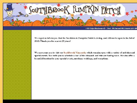 Southbrook Farms (905-832-2548) - Onglet de site Web - http://www.southbrookpumpkinpatch.com