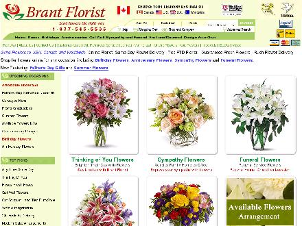 Brant Florist (905-639-7001) - Website thumbnail - http://www.brantflorist.com