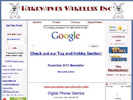 Harewaves Wireless Inc (403-746-0096) - Website thumbnail - http://www.harewaves.net